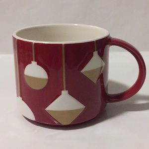 Starbucks Red Mug White Gold Embossed Ornaments